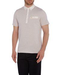 Farah | Natural Balcombe Regular Fit Jacquard Polo Shirt for Men | Lyst