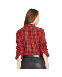Ralph Lauren | Red Plaid Cotton Twill Workshirt | Lyst