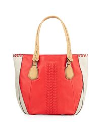 orYANY - Orange Lyssie Colorblock Whipstitched Tote Bag - Lyst