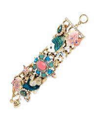 Betsey Johnson Metallic Goldtone Sea Life Charm Toggle Bracelet