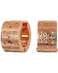 Michael Kors - Pink Etched Monogram Huggie Earrings - Lyst