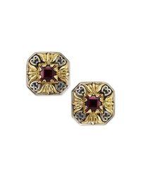 Konstantino - Metallic Silver & 18k Gold Rhodolite Stud Earrings - Lyst