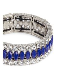Kenneth Jay Lane | Blue Crystal And Lapis Elasticated Bracelet | Lyst
