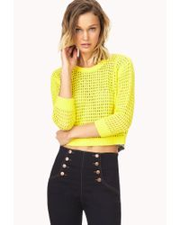 Forever 21 | Yellow Standout Open-knit Sweater | Lyst