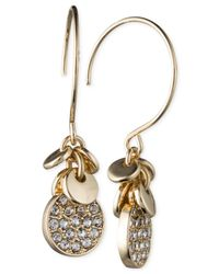 Anne Klein | Metallic Silver-tone Crystal Disc Drop Earrings | Lyst
