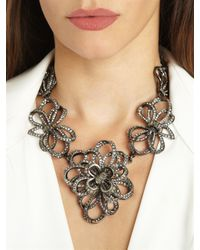 Oscar de la Renta - Metallic Pave Bow Necklace - Lyst
