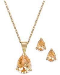 City By City | Metallic Gold-tone Crystal Pear Pendant Necklace And Pear Stud Earrings Set | Lyst