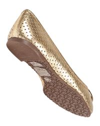 Tory Burch - Metallic Perforated Reva Ballet Flat - Lyst