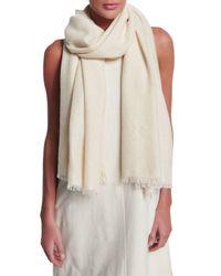Brunello Cucinelli - White Paillette-embellished Cashmere Scarf - Lyst