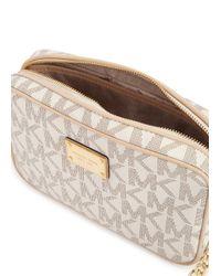 Michael Kors | Natural Jet Set Cream Monogrammed Cross-body Bag | Lyst