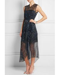 Jonathan Saunders - Blue Marie Printed Silk-Chiffon Dress - Lyst