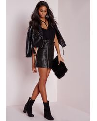 Missguided | Faux Leather Buckle Zip A Line Skirt Black | Lyst