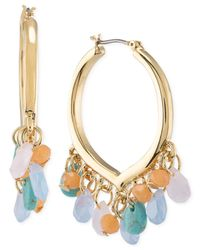 Carolee | Multicolor Gold-tone Multi-stone Click Hoop Earrings | Lyst