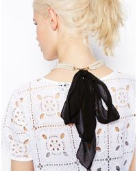 ASOS - Multicolor Limited Edition Faux Pearl Ribbon Scarf Necklace - Lyst