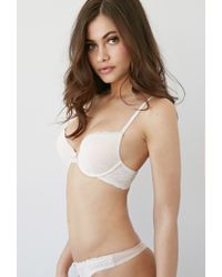 Forever 21 | Natural Floral Lace Push-up Bra | Lyst