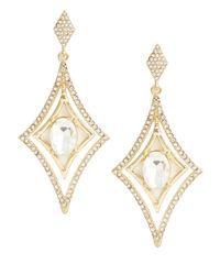 R.j. Graziano | Metallic Diamond-shaped Pave Drop Earrings | Lyst