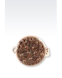 Emporio Armani | Metallic Ring In Gold-Plated Steel And Topaz | Lyst