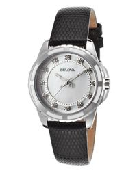 Bulova - Women's Diamond Black Genuine Leather Mother Of Pearl Dial - Lyst
