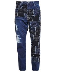 Miharayasuhiro - Blue Woven And Distressed Jeans - Lyst