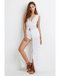 Forever 21 - White Crocheted Gauze Maxi Dress - Lyst