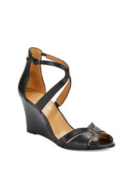 Nine West | Black Champayne Leather Peep Toe Wedge Sandals | Lyst