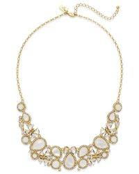 kate spade new york | Metallic 12k Gold-plated Mother-of-pearl And Crystal Frontal Necklace | Lyst