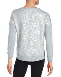 Betsey Johnson | Metallic Floral Embossed Sweatshirt | Lyst
