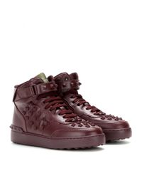 Valentino - Purple Rock-be Leather High-top Sneakers - Lyst