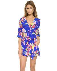 Yumi Kim | Multicolor Paradise Floral-print Faux-wrap Short Jumpsuit | Lyst