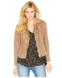 Lucky Brand | Brown Lucky Brand Point-Collar Mixed-Media Leather Jacket | Lyst