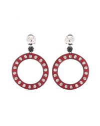Miu Miu | Red Studded Leather Hoop Clip-On Earrings | Lyst