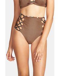 Volcom - Brown 'roam Free' Reversible High Waist Bikini Bottoms - Lyst