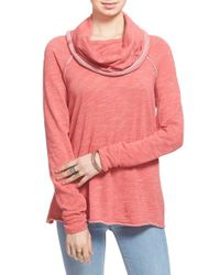 Free People | Red 'beach Cocoon' Cowl Neck Pullover | Lyst