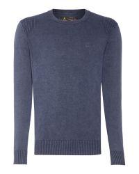 Label Lab | Blue Powder Wash Crew Neck Knitted Jumper for Men | Lyst