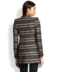 Alice + Olivia - Black Lama Jacquard Longline Jacket - Lyst
