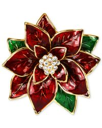 Jones New York - Red Gold-Tone Poinsettia Pin - Lyst