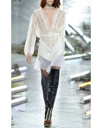 Rodarte - White Natural Ruffled Lace Blouse With Cinched Waist - Lyst