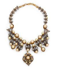 Erickson Beamon - Metallic Stratosphere Crystal & Faux Pearl Statement Bib Necklace - Lyst