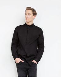 Zara   Black Mao Collar Shirt for Men   Lyst