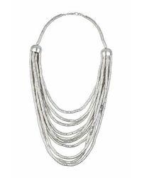 TOPSHOP - Metallic Cap Multirow Necklace - Lyst