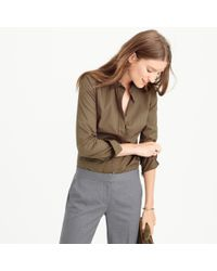 J.Crew | Brown Stretch Perfect Shirt | Lyst