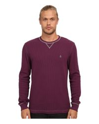 Original Penguin | Purple Waffle Crew Neck for Men | Lyst
