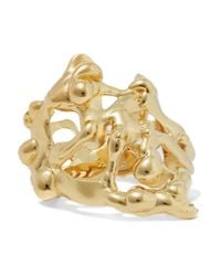 Annelise Michelson - Metallic Long Drops Gold-plated Ring - Lyst
