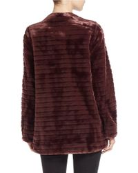 Vince Camuto | Purple Quilted Faux Fur Coat | Lyst