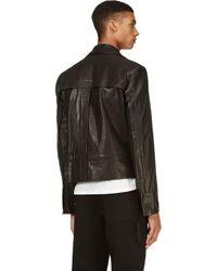Ann Demeulemeester - Black Washed Leather Biker Jacket for Men - Lyst
