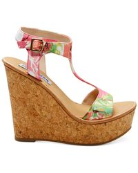 Steve Madden - Multicolor Iluvit T-Strap Platform Wedge Sandals - Lyst