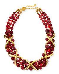 Jose & Maria Barrera | Metallic Burgundy Dyed Jade Necklace | Lyst