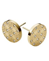 Michael Kors | Metallic Goldtone And Glitz Logo Etch Earrings | Lyst