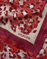 Jaeger - Red Silk Twill Animal Print Scarf - Lyst