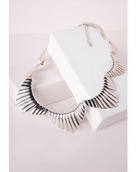 Missguided - Metallic Scallop Detail Bib Necklace - Lyst